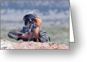 Renegade Greeting Cards - U.s. Air Force Airman Fires An Fnmi Greeting Card by Stocktrek Images