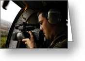 Reporting Greeting Cards - U.s. Air Force Airman Takes Video Greeting Card by Stocktrek Images