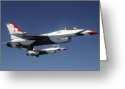 Two By Two Greeting Cards - U.s. Air Force F-16 Thunderbirds Greeting Card by Stocktrek Images