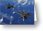 Raptor Photography Greeting Cards - U.s. Air Force F-22 Raptors In Flight Greeting Card by Stocktrek Images
