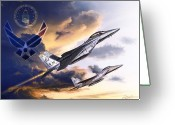 Air Mixed Media Greeting Cards - US Air Force Greeting Card by Kurt Miller