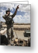 Pointing Greeting Cards - U.s. Air Force Member Calls For Air Greeting Card by Stocktrek Images