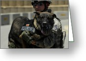 Working Dogs Greeting Cards - U.s. Air Force Soldier Giving Greeting Card by Stocktrek Images
