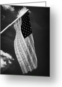 Tenn Greeting Cards - Us American Flag On Flagpole Against Blue Cloudy Sky Usa Greeting Card by Joe Fox