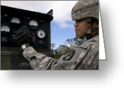 Knob Greeting Cards - U.s. Army Operator Adjusts A Patriot Greeting Card by Stocktrek Images