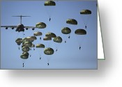 Plane Greeting Cards - U.s. Army Paratroopers Jumping Greeting Card by Stocktrek Images