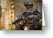 Gun Barrel Greeting Cards - U.s. Army Ranger In Afghanistan Combat Greeting Card by Tom Weber