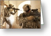 Special Weapons Greeting Cards - U.s. Army Rangers In Afghanistan Combat Greeting Card by Tom Weber