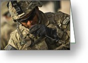 Responsibility Greeting Cards - U.s. Army Soldier Communicates Greeting Card by Stocktrek Images