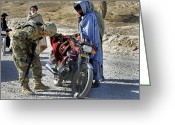 Color Bending Greeting Cards - U.s. Army Soldier Conducts Vehicle Greeting Card by Stocktrek Images