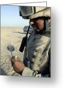 Transceiver Greeting Cards - U.s. Army Soldier Examines Ballistic Greeting Card by Stocktrek Images