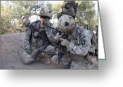 Battleground Greeting Cards - U.s. Army Soldier Radios In His Teams Greeting Card by Stocktrek Images