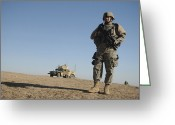 Iraq Greeting Cards - U.s. Army Soldier Standing Watch Greeting Card by Stocktrek Images