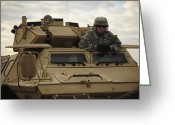 Military Police Greeting Cards - U.s. Army Soldier Stands In The Drivers Greeting Card by Stocktrek Images