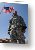 Camouflage Clothing Greeting Cards - U.s. Army Soldier Taking In The Sun Greeting Card by Stocktrek Images
