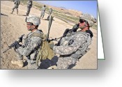 Transceiver Greeting Cards - U.s. Army Soldiers Call In An Update Greeting Card by Stocktrek Images