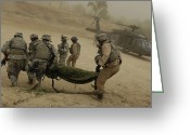 Misfortune Greeting Cards - U.s. Army Soldiers Medically Evacuate Greeting Card by Stocktrek Images