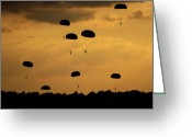 Leap Greeting Cards - U.s. Army Soldiers Parachute Greeting Card by Stocktrek Images