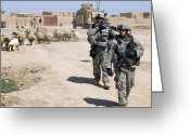 Humanitarian Aid Greeting Cards - U.s. Army Soldiers Providing Security Greeting Card by Stocktrek Images