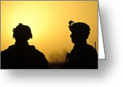 Middle East Greeting Cards - U.s. Army Soldiers Silhouetted Greeting Card by Stocktrek Images