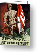 War Production Greeting Cards - US Army World War Two Greeting Card by War Is Hell Store