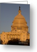 Us Capital Greeting Cards - US Capital Dome Sunset Glow Greeting Card by Dustin K Ryan