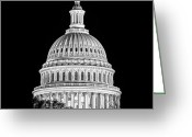 Us Capital Greeting Cards - US Capitol Dome in Black and White Greeting Card by Val Black Russian Tourchin