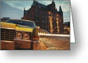 Nightshot Greeting Cards - US Car Greeting Card by Nina Papiorek