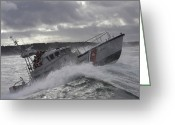 Coast Guard Greeting Cards - U.s. Coast Guard Motor Life Boat Brakes Greeting Card by Stocktrek Images