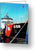 Usmc Base Greeting Cards - US Coast Guard Ship Greeting Card by Thomas R Fletcher