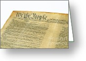 Historical Document Greeting Cards - U.s Constitution Greeting Card by Photo Researchers, Inc.