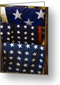 Folded Greeting Cards - Us Flags Folded And Hanging Greeting Card by Todd Gipstein
