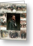 Engraving Greeting Cards - US Grants Career In Pictures Greeting Card by War Is Hell Store