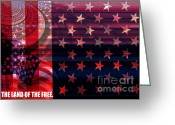 America The Continent Greeting Cards - U.S is On the Continent Greeting Card by Fania Simon