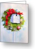 Ornaments Painting Greeting Cards - US Mail Greeting Card by Suzy Pal Powell