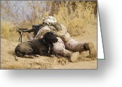 Dirty Dog Greeting Cards - U.s. Marine And A Military Working Dog Greeting Card by Stocktrek Images