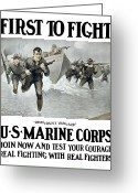 World War One Greeting Cards - US Marine Corps First To Fight  Greeting Card by War Is Hell Store