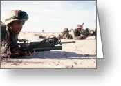 Operation Desert Storm Greeting Cards - U.s. Marine Guards The Camp Perimeter Greeting Card by Stocktrek Images