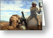 Color Bending Greeting Cards - U.s. Marine Holds A Mortar Tube Steady Greeting Card by Stocktrek Images