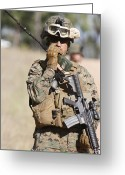 Transceiver Greeting Cards - U.s. Marine Radios His Units Movements Greeting Card by Stocktrek Images