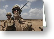 Reporting Greeting Cards - U.s. Marine Uses A Radio In Djibouti Greeting Card by Stocktrek Images