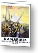 World War One Greeting Cards - US Marines -- First To Fight For Democracy Greeting Card by War Is Hell Store