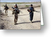 Police Officers Greeting Cards - U.s. Marines And Afghan National Police Greeting Card by Stocktrek Images