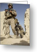 Helmet Greeting Cards - U.s. Marines Leaving Their Forward Greeting Card by Stocktrek Images