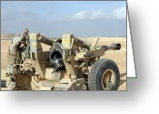 Iraq Greeting Cards - U.s. Marines Prepare To Fire A Howitzer Greeting Card by Stocktrek Images