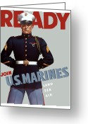 War Art Greeting Cards - US Marines Ready Greeting Card by War Is Hell Store