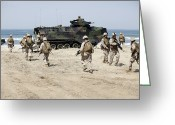 Armored Vehicles Greeting Cards - U.s. Marines Return To Their Amphibious Greeting Card by Stocktrek Images