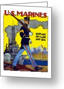 Marine Corps Greeting Cards - U.S. Marines Service On Land And Sea Greeting Card by War Is Hell Store