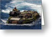 Armored Vehicles Greeting Cards - U.s. Marines Transit The Open Water Greeting Card by Stocktrek Images