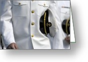 Uniforms Greeting Cards - U.s. Naval Academy Midshipman In Dress Greeting Card by Stocktrek Images